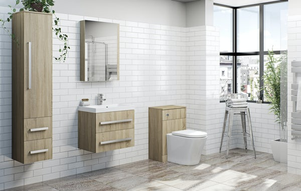 Orchard Wye oak wall hung vanity unit with basin 600mm
