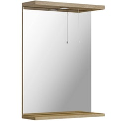 Sienna oak bathroom mirror with lights 550mm offer pack