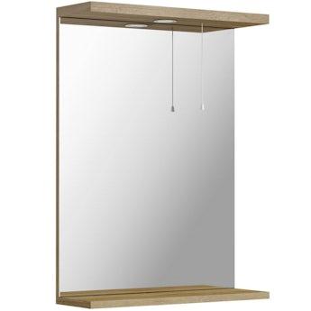 Sienna oak bathroom mirror with lights 550mm
