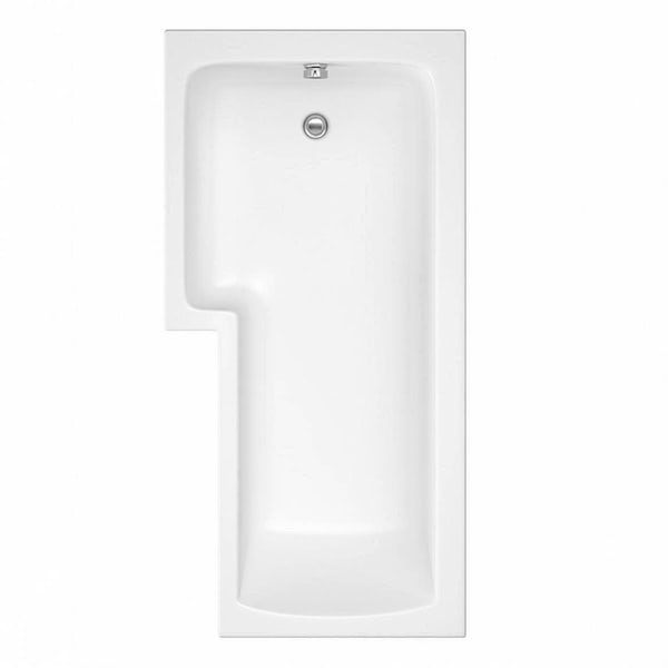 L shaped left handed shower bath 1700mm with 8mm hinged shower screen and rail
