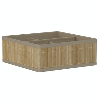 Natural bamboo 4 section storage basket