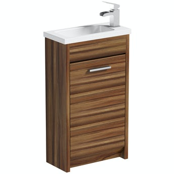 Smart walnut cloakroom unit with basin