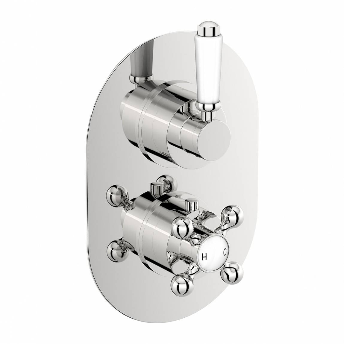 The Bath Co. Traditional oval twin thermostatic shower valve