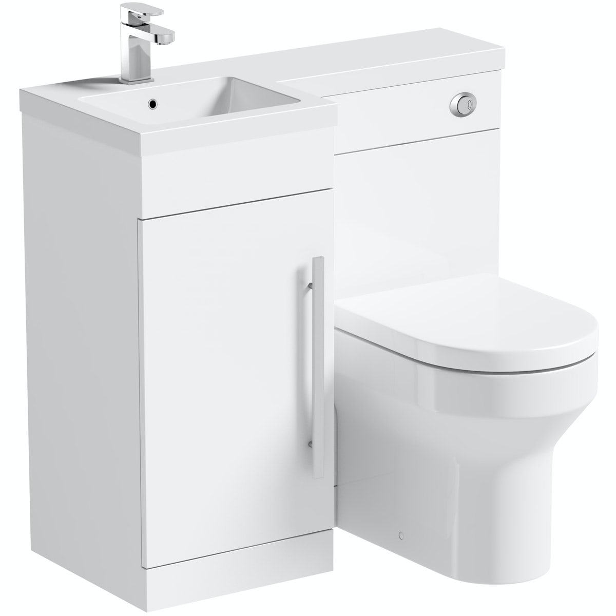 Orchard MySpace white left handed unit with contemporary back to wall toilet