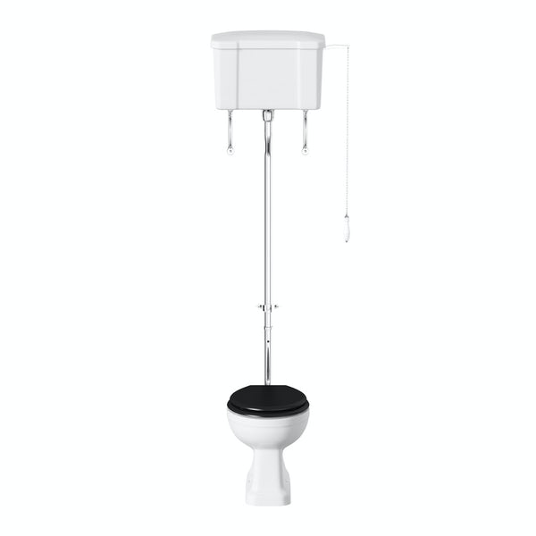 Camberley high level toilet with wooden soft close seat black