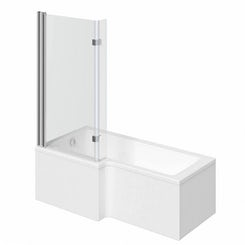 Boston left handed L shaped shower bath 1700mm with 8mm hinged shower screen