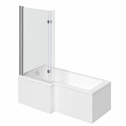 L shaped left handed shower bath 1700mm with 8mm hinged shower screen