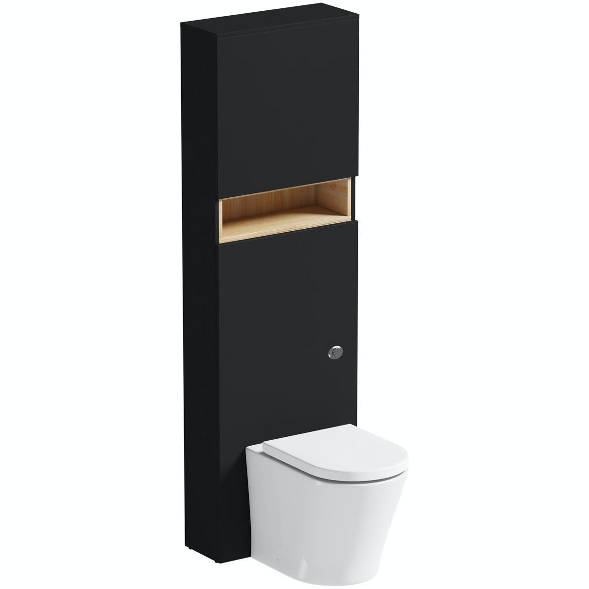 Mode Tate anthracite & oak tall toilet unit with contemporary toilet and seat