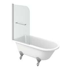 The Bath Co. Shakespeare freestanding shower bath and bath screen with rail