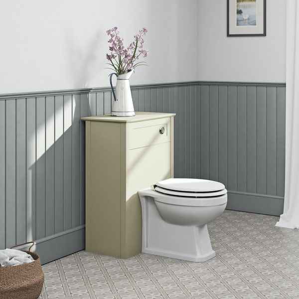 The Bath Co. Camberley satin ivory back to wall unit and traditional toilet with white wooden seat