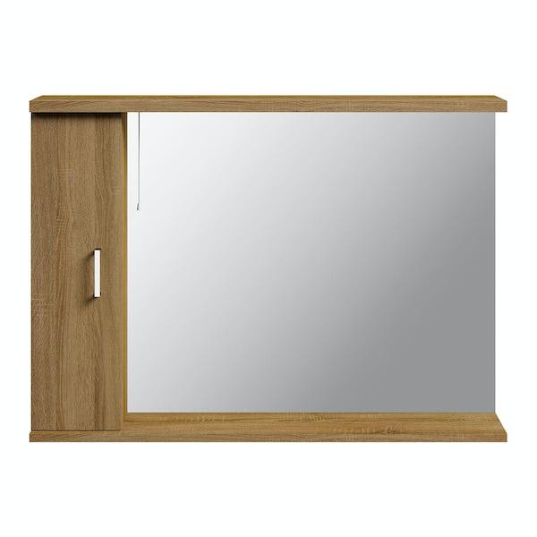 Sienna Oak 1050 Mirror with lights