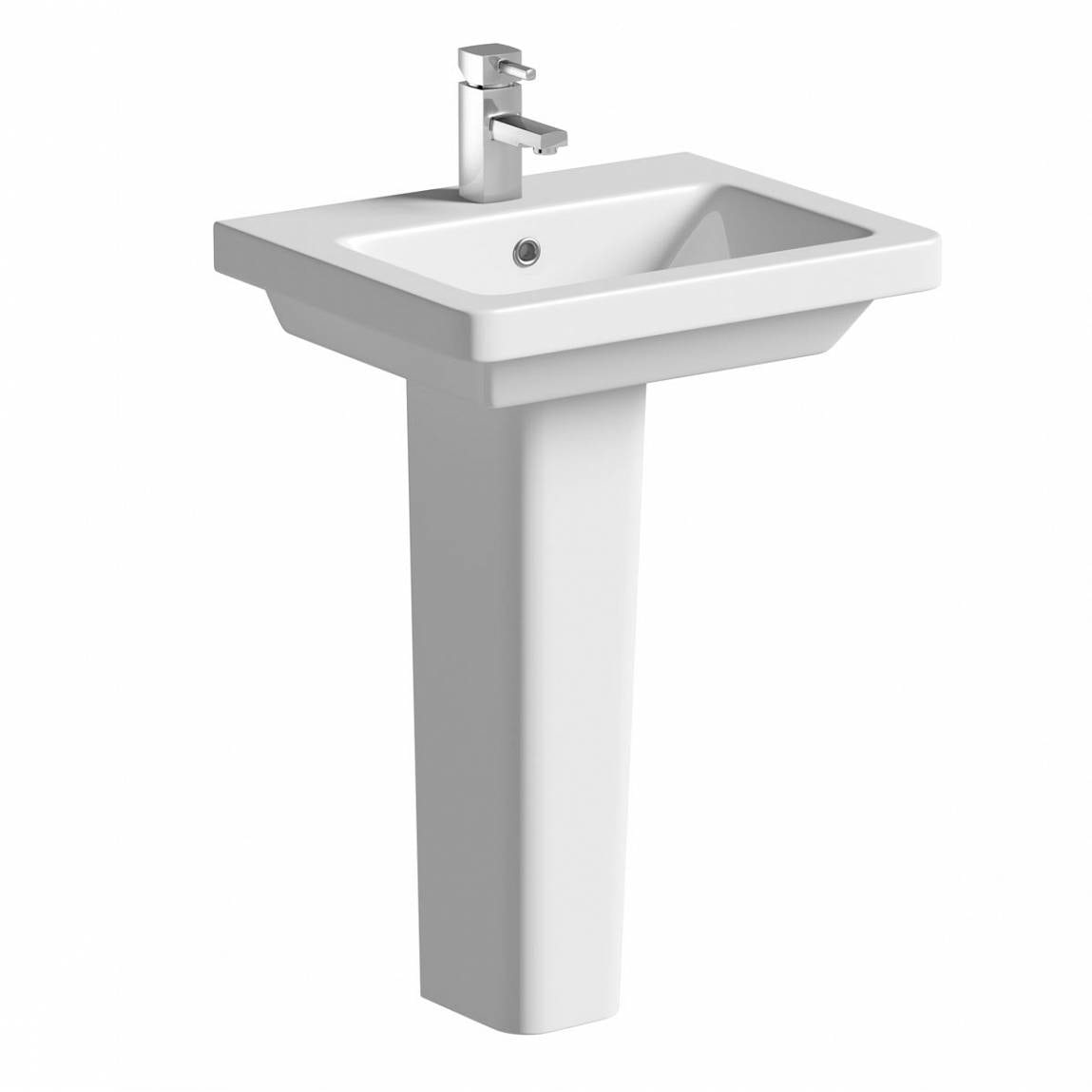 Verso 1TH 550mm Basin & Pedestal