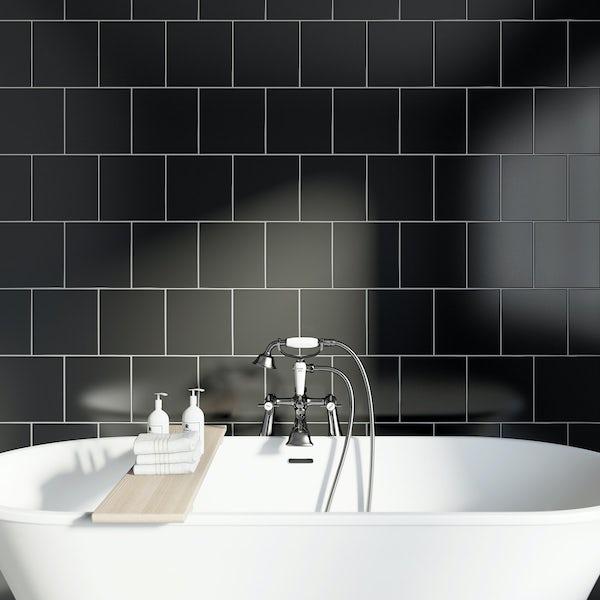 Studio Conran plain black gloss tile 198mm x 198mm