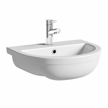 Elena 1 tap hole semi recessed counter top basin 500mm with waste