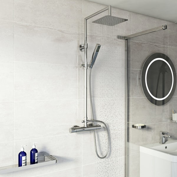 Mode Cool Touch square thermostatic exposed mixer shower