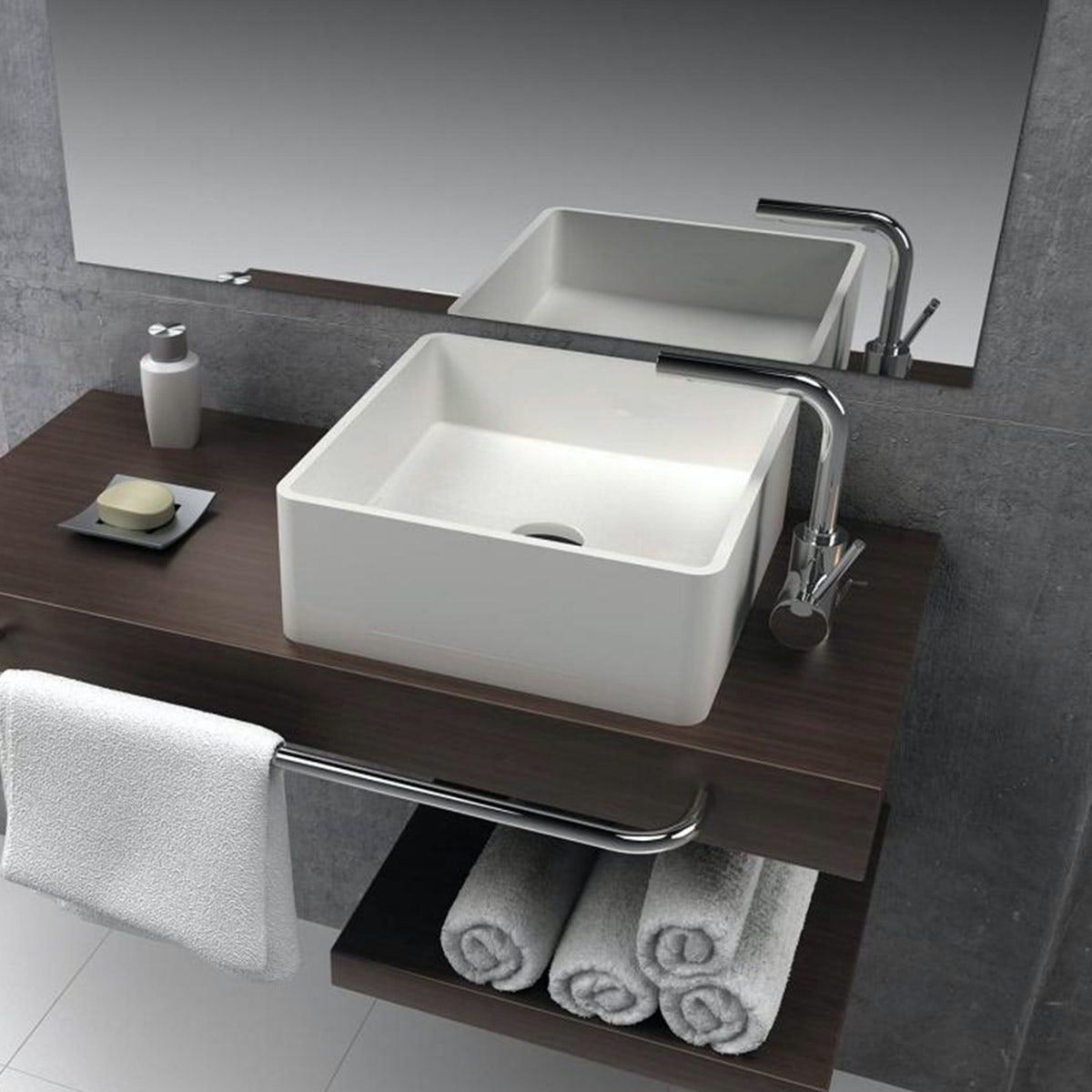 Mode Carpi solid surface stone resin square countertop basin 400mm with waste