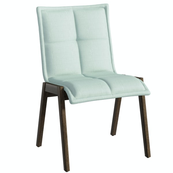 Hudson walnut trestle table with 4 x Hadley light cyan dining chairs