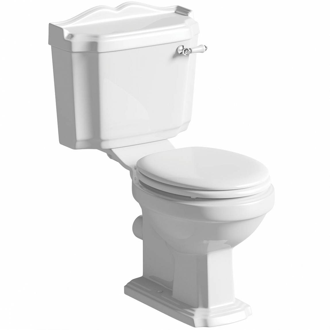 The Bath Co. Winchester close coupled toilet with painted wood seat white with pan connector