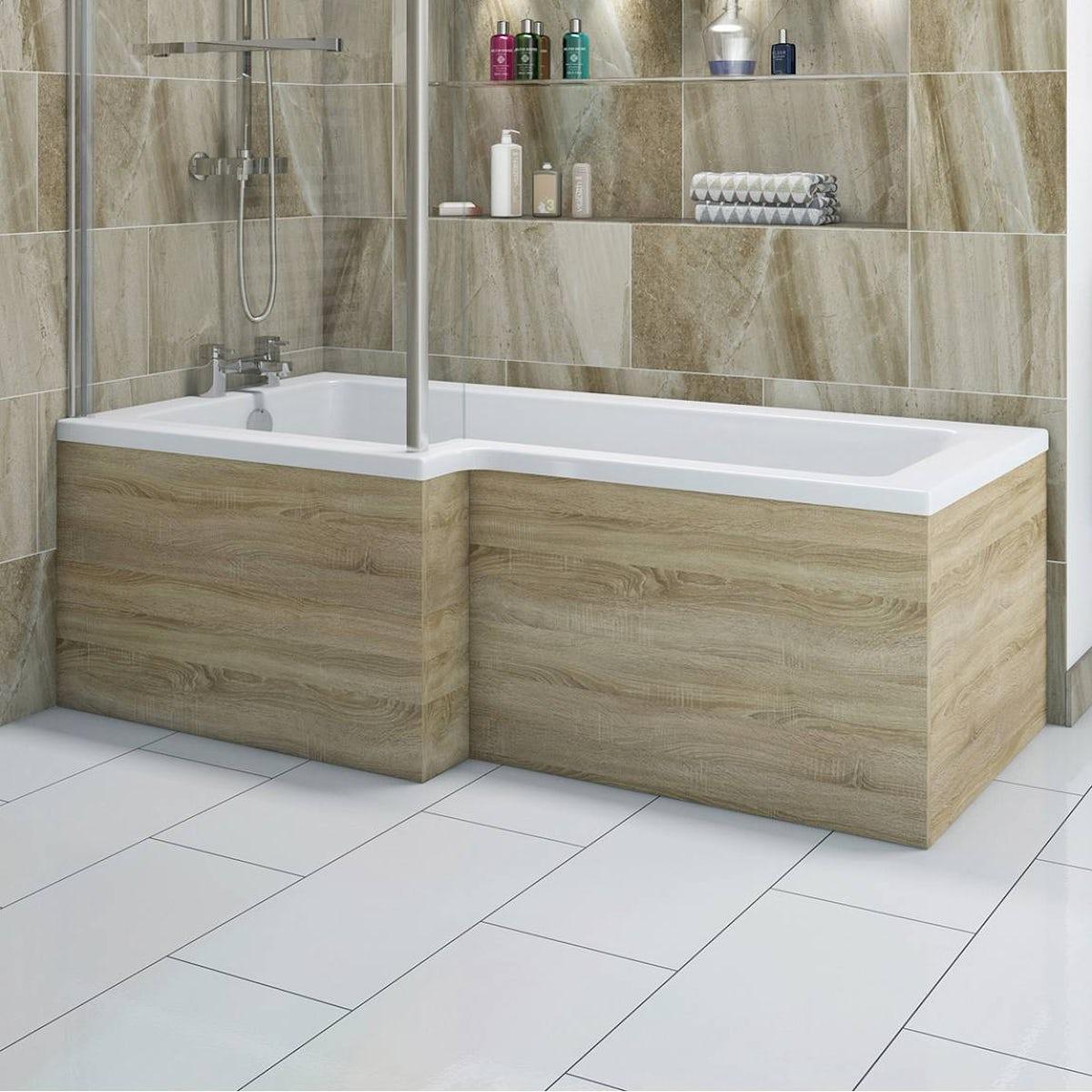 Boston Oak Shower Bath Side Panel 1500