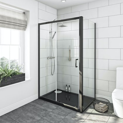 Mode premium black 6mm shower enclosure with black right handed tray 1200 x 800