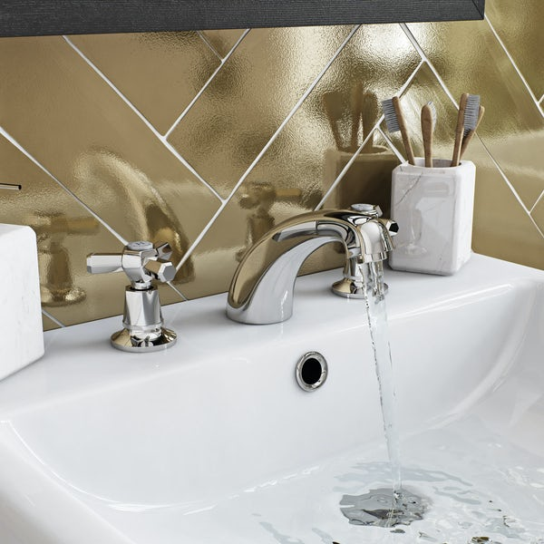 The Bath Co. Beaumont 3 hole basin mixer and bath pillar tap pack