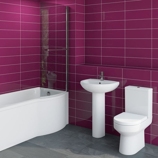 Oakley Bathroom Suite with left handed Evesham P shaped shower bath 1675 x 850