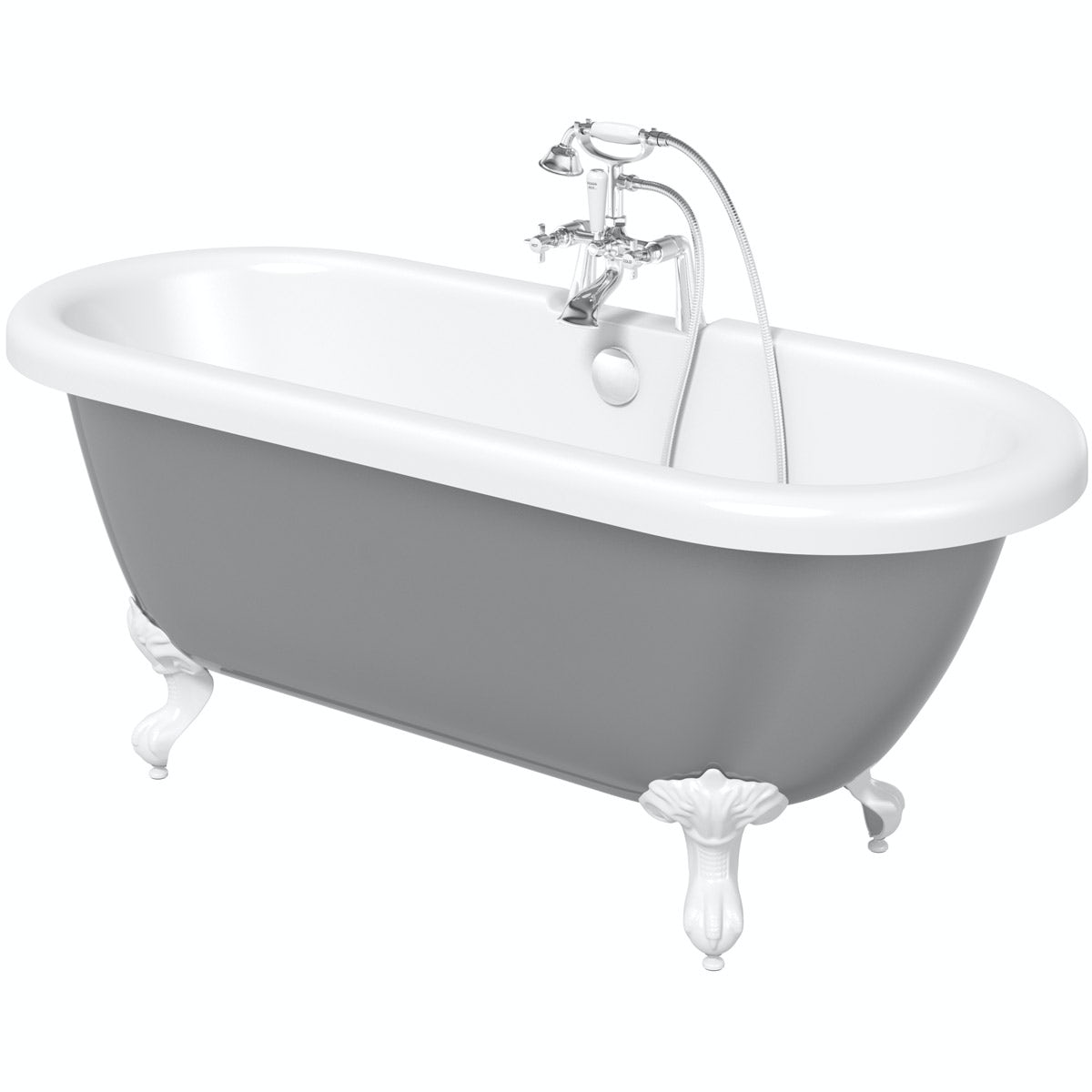 The Bath Co. Dulwich grey roll top bath with white ball and claw feet 1500 x 720