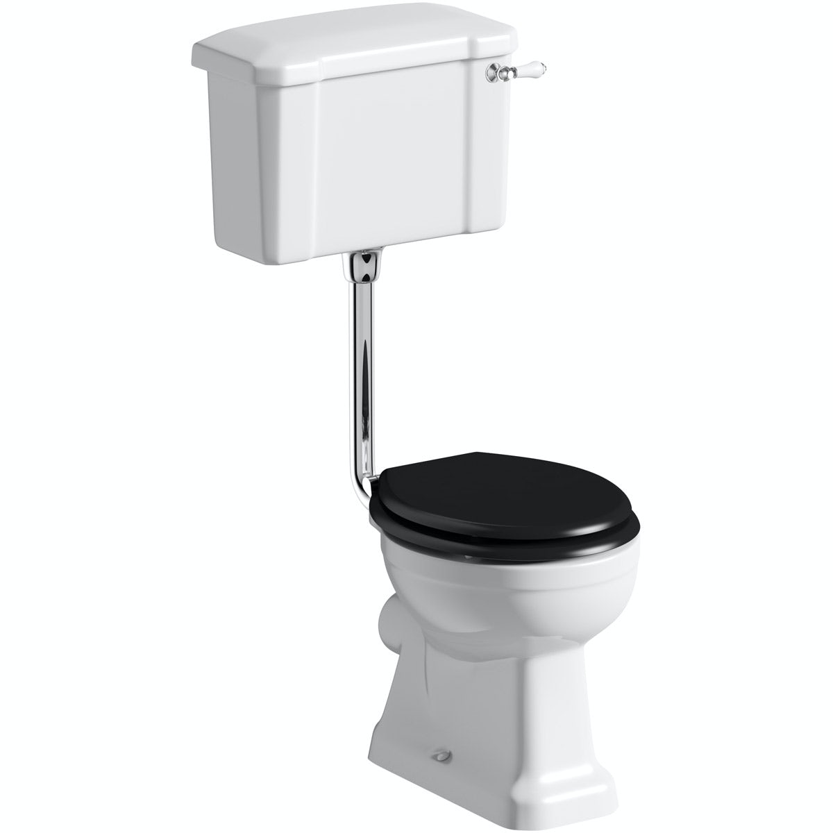 The Bath Co. Camberley low level toilet with wooden soft close seat black with pan connector