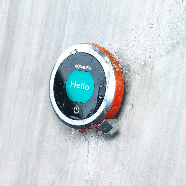 Aqualisa Q concealed digital shower standard with slider rail and ceiling arm