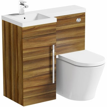 MySpace walnut left handed unit with Arte back to wall toilet