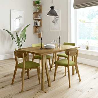 Hudson oak trestle table with 4 x Ernest green dining chairs
