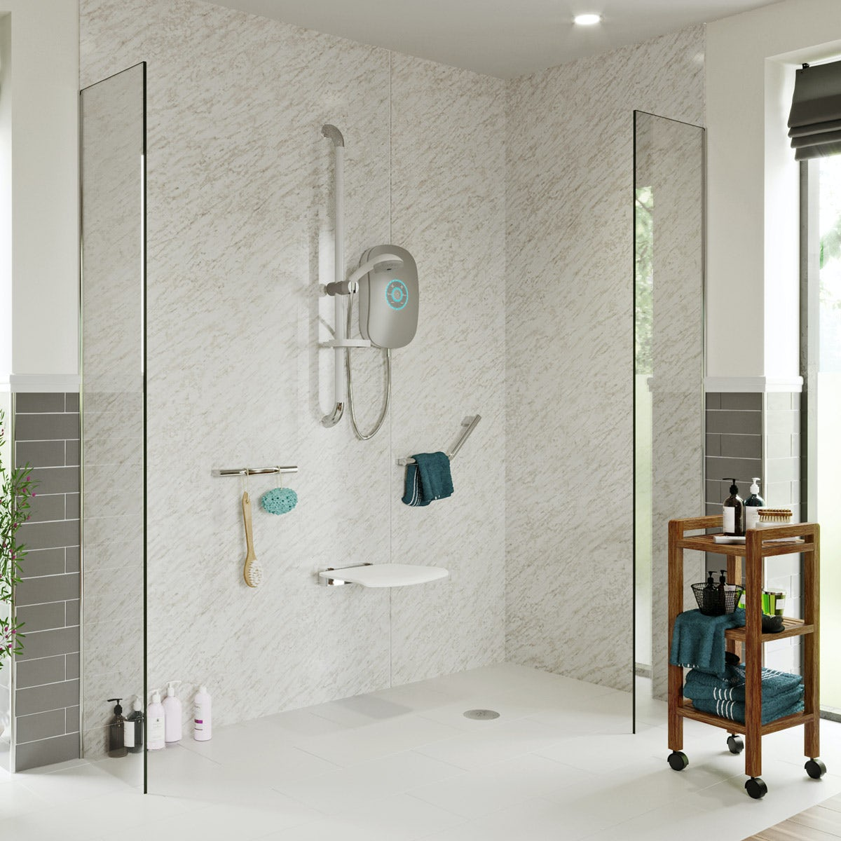 AKW iCare 9.5kw electric shower silver - Sold by Victoria Plum