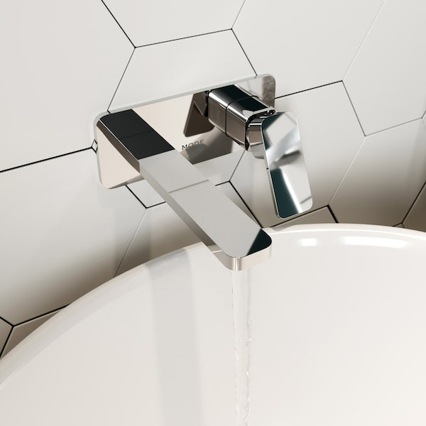 Mode Spencer square wall mounted basin mixer tap offer pack