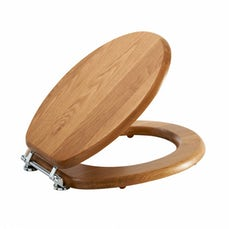 Image of Solid Oak Wooden Toilet Seat