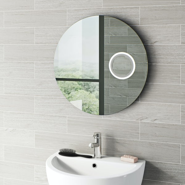 Mode Aurora round magnifying LED mirror with demister