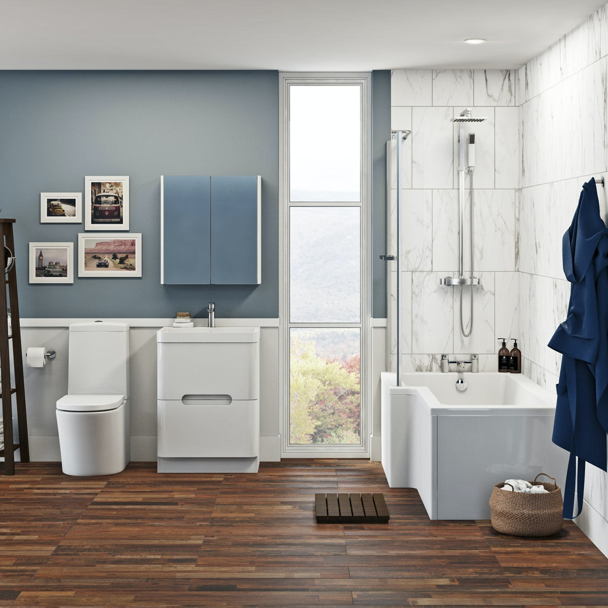 Mode Tate bathroom suite with left handed shower bath and white drawer unit