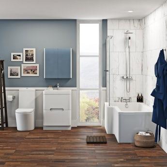 Mode Arte left hand shower bath 1700 x 850 suite with Ellis white floor drawer unit