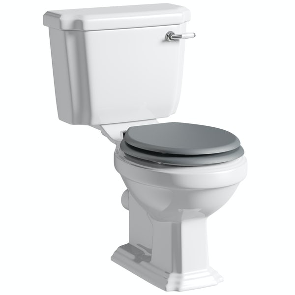 Dulwich toilet suite with white seat and full pedestal basin 500mm