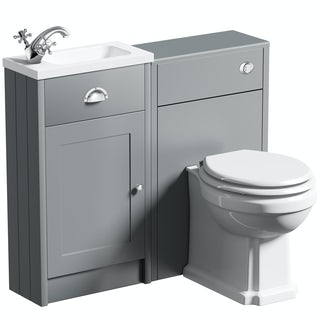 The Bath Co. Dulwich grey cloakroom combination with white wooden seat