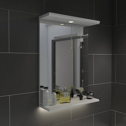 Sienna white 41 mirror with lights for Bathroom cabinets victoria plumb