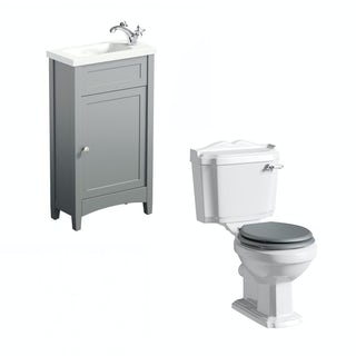 The Bath Co. Camberley grey cloakroom unit with Traditional close coupled toilet