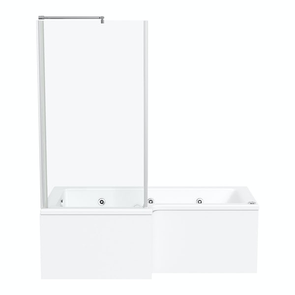 L shaped left handed 6 jet whirlpool shower bath with front panel and screen