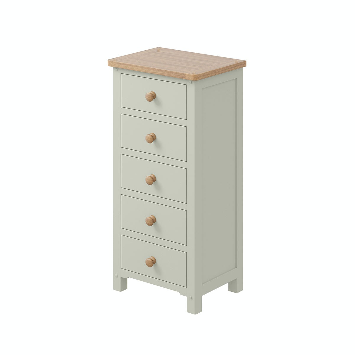 Rome Oak & Grey 5 Drawer Tall Chest with Vanity Mirror in Oak & Grey
