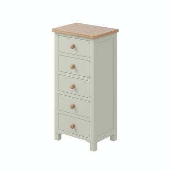 MFI Rome oak and mellow sage 5 drawer tall chest with vanity mirror