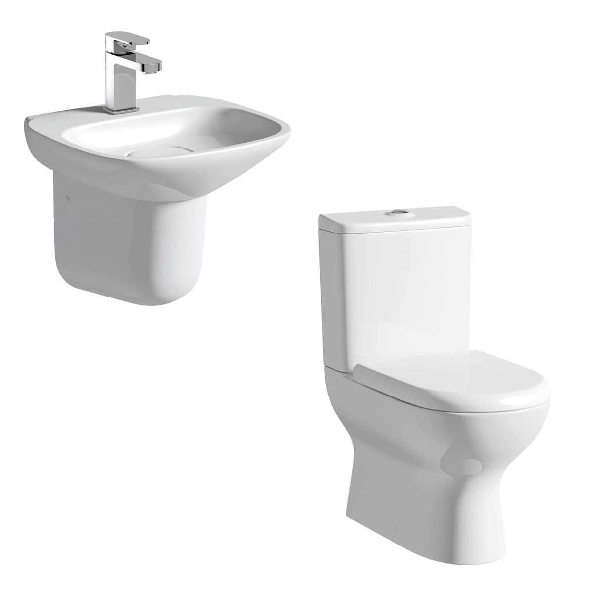 Mode Fairbanks close coupled toilet and semi pedestal basin suite