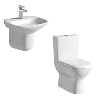 Mode Heath close coupled toilet and semi pedestal basin suite