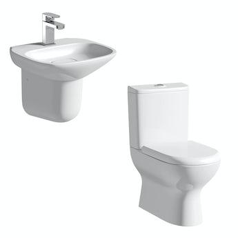 Mode Fairbanks close coupled toilet and semi pedestal basin suite