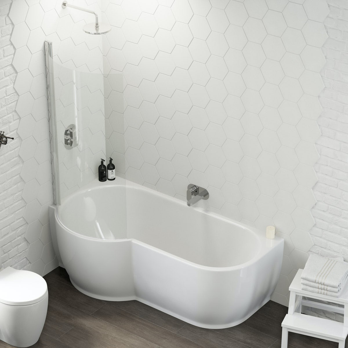 Mode Harrison Left Handed P Shaped Shower Bath And Screen