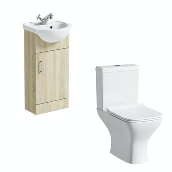 Eden oak cloakroom unit with Compact square close coupled toilet