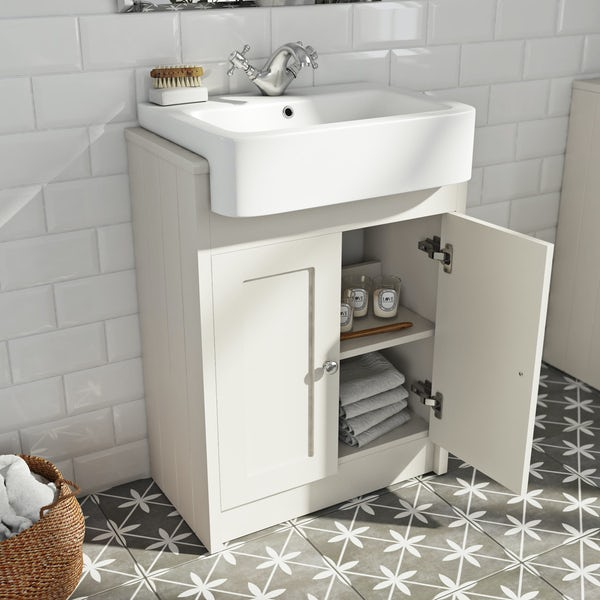 The Bath Co. Dulwich stone ivory semi recessed vanity with basin 600mm